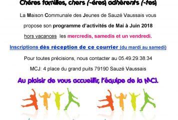 Programme Hors Vacances Mai Juin