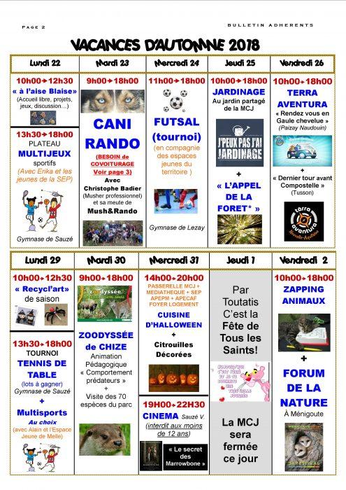 vacances automne 2018 Bulletin Vacances Automne 2018 PAGE 2