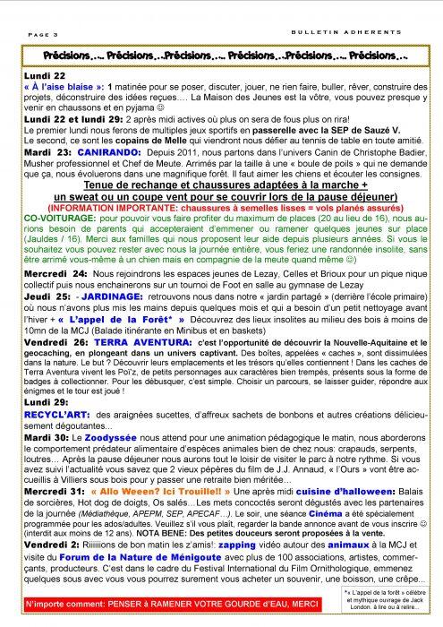 Bulletin Vacances Automne 2018 PAGE 3